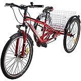 DNNAL Montaña de Adulto Triciclo, 7 Velocidad Crucero de Tres Ruedas Trike Bicicletas del Freno de Disco MTB neumáticos de Bicicletas de bajo Paso con la Cesta Grande para la Mujer/Mayores/Jóvenes