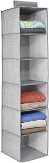 mDesign étagère suspendue – rangement suspendu – meuble suspendu en tissu – polyvalent – 6 compartiments – en polypropylèn...