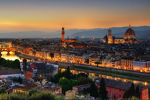 Florence Italy at Dusk with Cathedral of Saint Mary of The Flower Photo Art Print Poster 36x24 inch