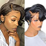 Pixie Cut Wig Lace Front Wigs Wavy Short Bob Remy Hair 150% T-Part Lace Glueless Curly Human Hair Wig Pre Plucked Hairline Bleached Knot