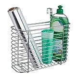 Relaxdays Einhängekorb, Schranktür Organizer, Aufbewahrung, Türorganizer für Küche, Drahtkorb HxBxT 20x28x10 cm, silber
