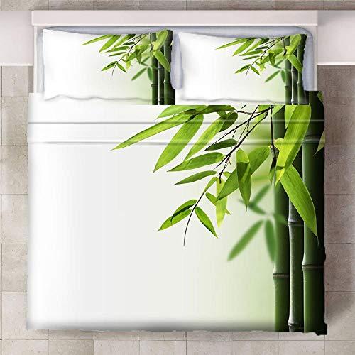 HYBWSO Funda nórdica de 3D Bambú Verde Blanco Juego de Cama con Cierre de Cremallera,Funda de edredón de 100% poliéster Suave 240xmx220cm