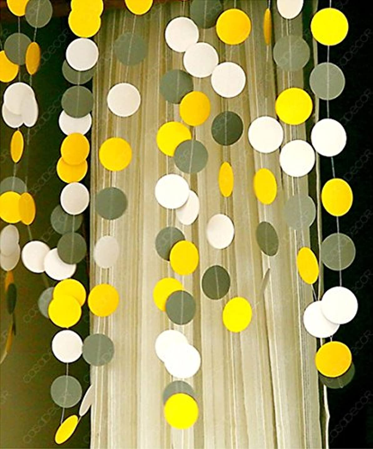 KINGWEDDING Round Dots Hanging Decoration String Paper Garland Wedding Birthday Party Baby Shower Background Decorative,157 inches (Yellow-Grey-White)
