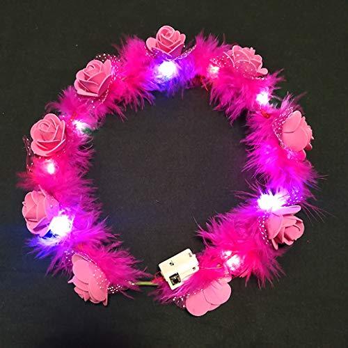 Hothap Vrouwelijke kinderen LED lichten krans kroon pluizige veren bloemen hoofdband slinger HP (eerste foto)