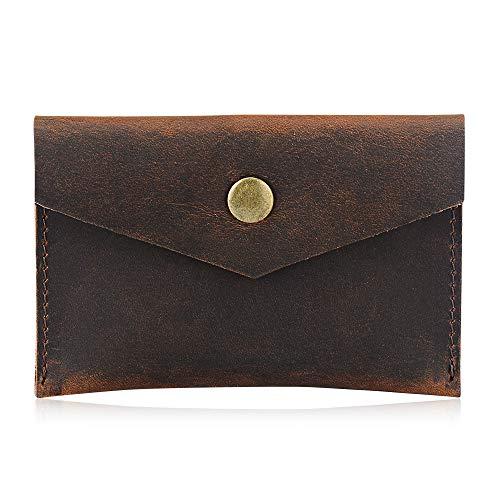Bird&Fish Handmade Vintage Genuine Leather Minimalist Wallet, Front Pocket Business Card Holder (Art Brown)