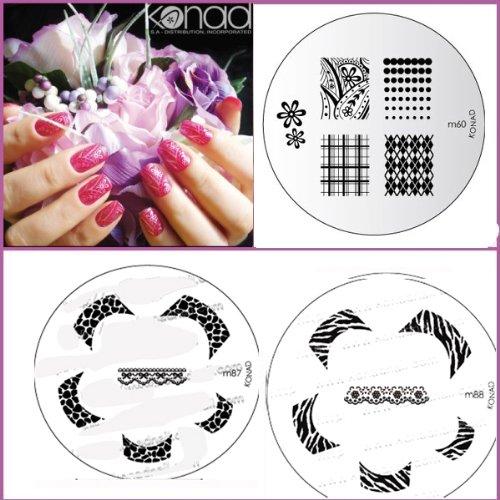 Bundle 5 pièces : Konad Plaque de nouvelles images M87, M88, M60 + Stamper & Scraper + A-viva Eco Lime à ongles