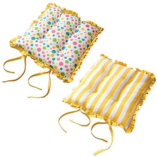Homescapes Rüschenkissen zum Wenden 40 x 40 cm Stuhlkissen mit Bändern Polka Dots Multi Sitzkissen mit Rüschen
