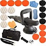 Poliermaschine Exzenter 810 Watt mit 15mm Hub und 6m Kabel inklusive Tasche und Polierschwamm Excenter Schleifmaschine Auto Polierer mit digitalen Display (Set M)