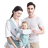 Baby Backpack Carriers Front and Back for Newborn to Toddler with Hip Seat, Forward Facing Feemom Baby Kangaroo Carrier for Men