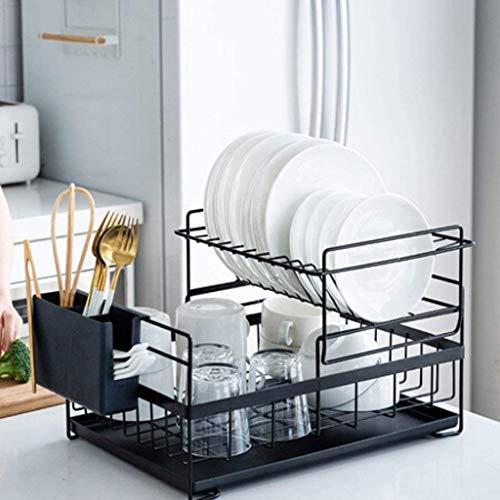 LINFIDITE Kitchen Sink Dish Drainer Rack Detachable Drying Rack Dishes 2 Tier Dish Drying Rack with Drip Tray Utensil Holder Countertop Dish Rack Draining Board Rack Organiser Set 48×29.5×27cm Black