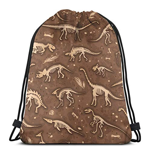 QUEMIN Drawstring Bags Gifts for Girls,Printed Design Dance Gym Backpack for Women/Mens BoysDino Skeletons Fossils