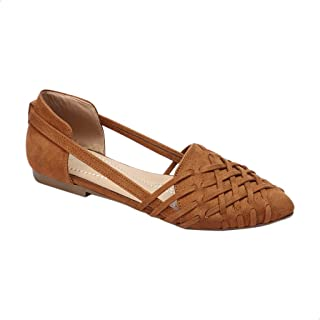 Tony Faux Suede Cut-Out Side Braided Flat Sandals For Women