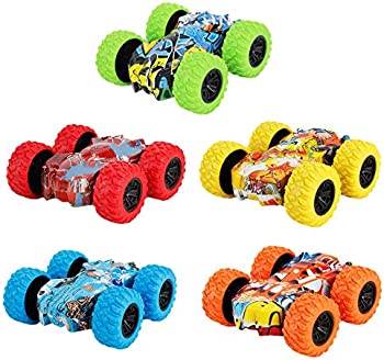 5-Pack Double-Sided Friction Powered Stunts Graffiti Toy Cars