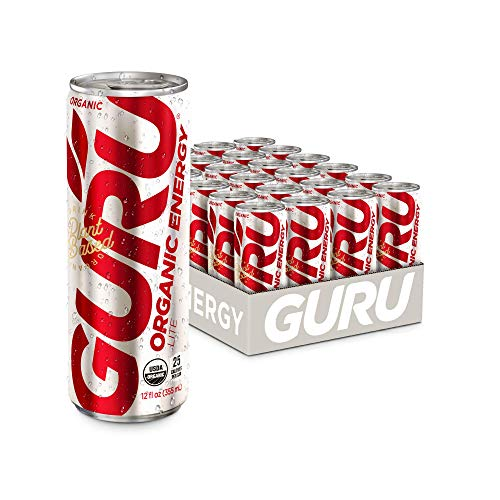 GURU Plant-Based Lite Energy Drink | Only 25 Calories | Recharge with Refreshing Good Energy | All Natural & Organic Ingredients | Healthy Energy Drink to Help Stay Focused | 12oz (Pack of 24)