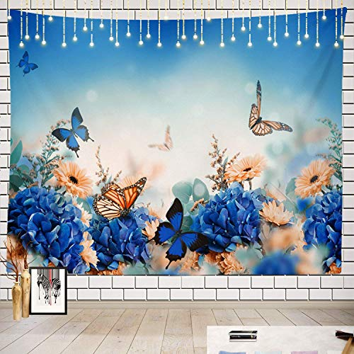 Elinna Yellow and Blue Floral Tapestry, Colorful Butterflies On Yellow Background Picnic Mat Beach Towel Wall Art Decoration for Bedroom Living Room Dorm, Flower Blue 60x40in(100x150cm)
