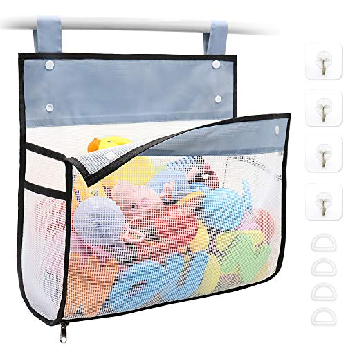 Bath Toy Organizer Multiple Ways to Hang, Extra Large Opening Bathroom Toy Holder, Bottom Zipper Bathtub Toy Storage Bag (Black)