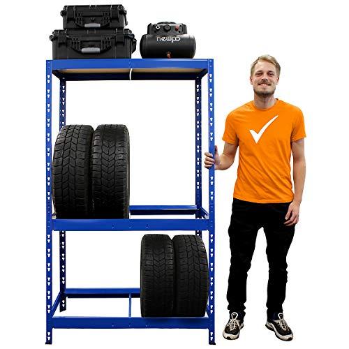 Certeo Reifenregal HxBxT 180 x 100 x 50 cm   Platz für bis zu 10 Reifen   Tiefe 50 cm   Garagenregal