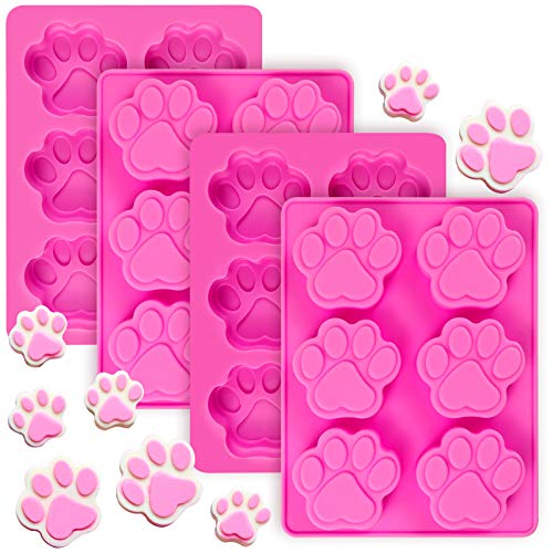 (4 PCS)Paw Print Silicone Mold/ Dog Cat Pet Animal Paw Chocolate Candy Mold for Pudding Jelly Soap Muffin Trays Candle Crayon Mould
