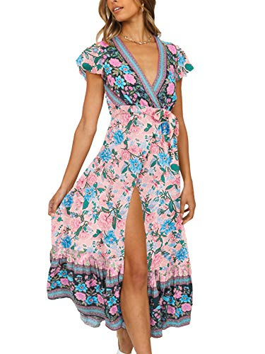 wrap dresses TEMOFON Women's Wrap Dresses Bohemian Floral Printed Summer Casual Short Sleeve V-Neck High Split Maxi Dress S-XL