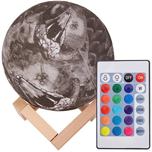 3D Mond Lampe 15cm mit Fernbedienung, Motiv 3D Mond, erhältlich in Ø 15 oder 20cm, 16 Farben. 10 verschiedene Motive, dimmbar, viele Funktionen, deutsche Bedienungsanleitung. Mondlampe Mondleuchte,