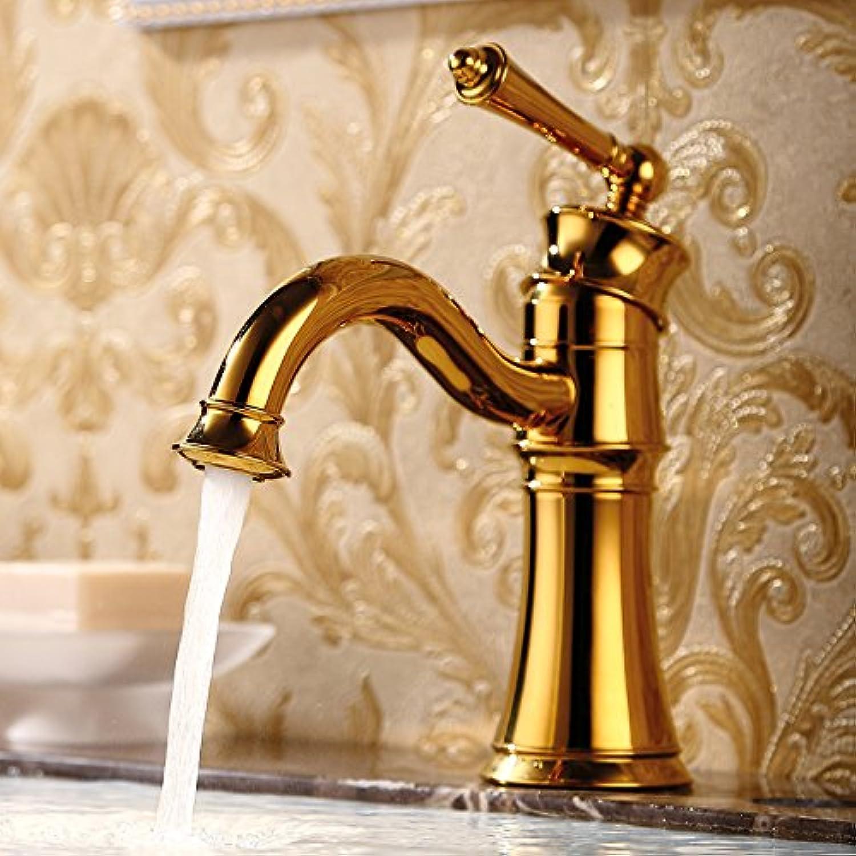 JONTON Badezimmerhahn Amerikanischen schwarzen Retro Kupfer Waschbecken heien und kalten Badezimmer europischen Stil Badezimmer Schrank Antik drehbare Wasserhahn, Gold