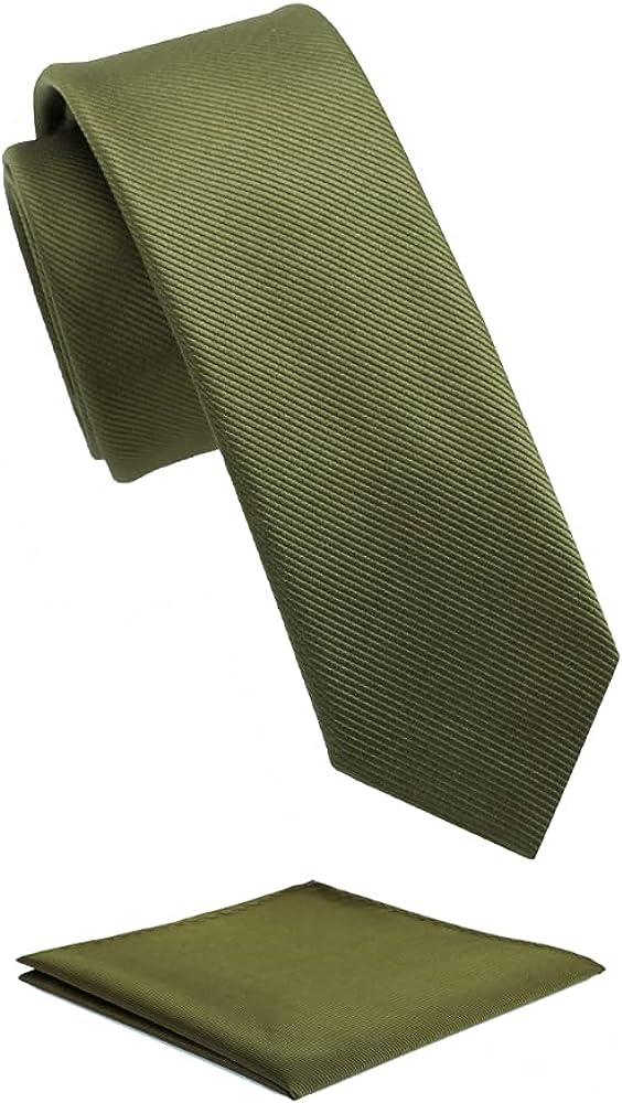 Fortunatever Mens Solid Color Tie,Slim&Formal Necktie With Multiple Colors+Pocket Square(2.36''&3.35'')