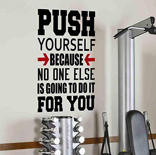 """Wandtattoo/ -Aufkleber mit """"Push Yourself Because No One Else Is Going To Do It For You""""-Schriftzug, motivierendes Zitat für Gesundheit und Fitness, Spinning, Kugelhantel, Crossfit, Workout, Boxen, UFC und MMA"""