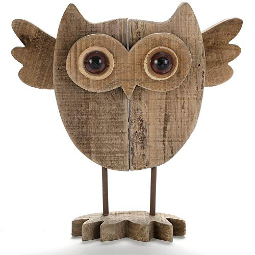 BYHER 10 Inch Vintage Crafted Art Owl Statue (Wood) Animal Figurines for Home Decor  Living Room Bedroom Office Decoration (Owl Statue - A)
