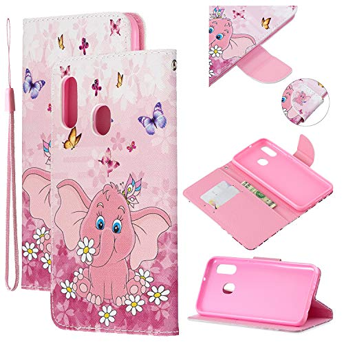 Amocase Strap Leather Case with 2 in 1 Stylus for Samsung Galaxy A20E,Colorful Printed Premium Magnetic Wallet PU Leather Stand Shockproof Card Slot Case for Samsung Galaxy A20E - Butterfly Elephant