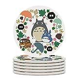 My Neighbor Totoro Wreath - Anime, Catbus, Soot Sprite, Blue Totoro, White Totoro, Mustard, Ochre, Umbrella, Manga, Hayao Miyazaki, Studio Ghibl Round Drinks Absorbent Stone Coaster Set with Ceramic S