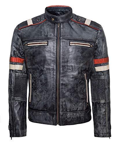 So-Shway Motorrad Lederjacke Herren Retro Lederjacke Distressed Cafe Racer Jacke Vintage Lederjacke Herren Schwarz (Retro-1, XL)