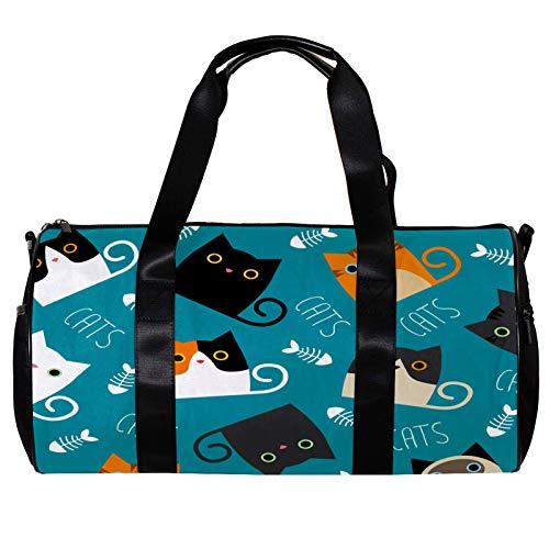 Runde Sporttasche mit abnehmbarem Schultergurt, Katzen zeigen verschiedene Rassen und Felltraining, Handtasche für Damen und Herren