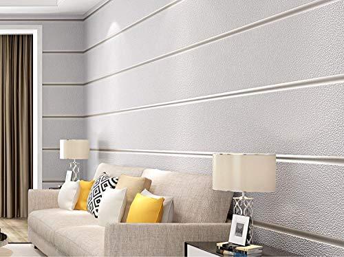 Tapete Breite Streifen, Moderne Einfachheit Einfarbig Vliestapete Poster Wanddekor für Hotel Büro Wohnzimmer Küche, Hellgrau 10 x 0.53 m