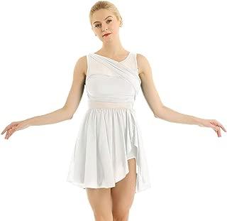 inlzdz Femme Robe Danse Latine Salsa Jazz Menuet Asym/étrique Robe Danse Classique Ballet Justaucorps Gymnastique Robe sans Manches Leotard Robe de Soir/ée Bal XS-XL
