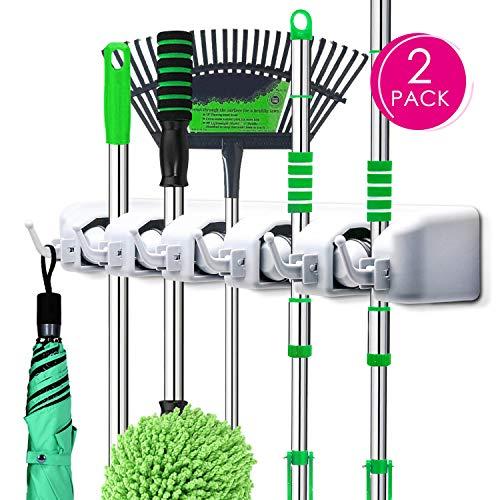 PUAIDA Besenhalter (2 Stücke), Wand Gerätehalter mit 5 Schnellspannern und 6 Haken, perfekt Mop Besen Ordnungsleiste für Gartenwerkzeug Küche Badezimmer Garage(Grau)
