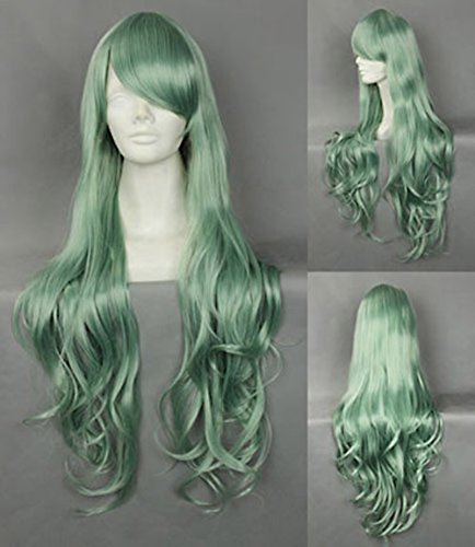 JapanAttitude Perruque Longue frisée Verte 80-90cm, Cosplay Lolita