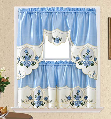 Rose Melody. 3pcs Kitchen Cafe Curtain Set. Swag and 24 inches Tiers Set for Small Windows. Nice Matching Color Rose Embroidery on Border and Inserted Organza. (Light Blue)