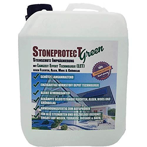 StoneprotecT SPGREEN Premium Grünbelag-Entferner mit Langzeit-Effekt Technologie | Steine, Holz und Dach | Steinreiniger und Imprägnierung gegen Moos, Algen, Flechten, Schmutz | 5L für bis zu 50m²