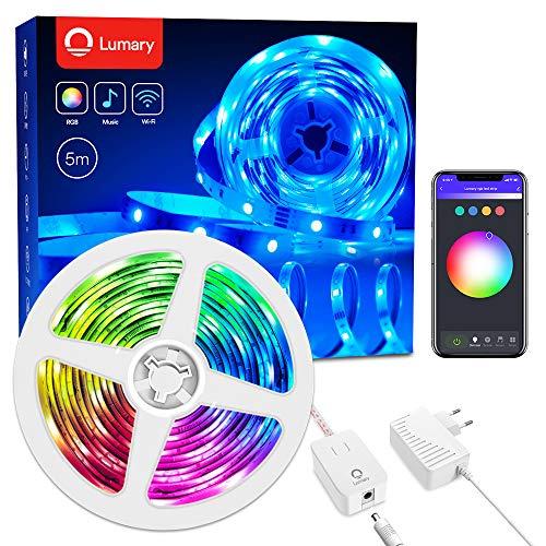 Smart Strisce LED 5m -Lumary Wi-Fi RGB Led Striscia dimmerabile, compatibile con Alexa,Google Home, Funzione Timer, Luce Nastro Luminoso Flessibile per Natale,Bar,Festa,Decorazioni.