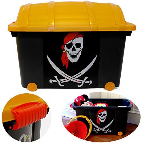 LS-LebenStil XL Kinder Piratenkiste 61x40cm Schatztruhe Spielkiste Pirat Rollbox