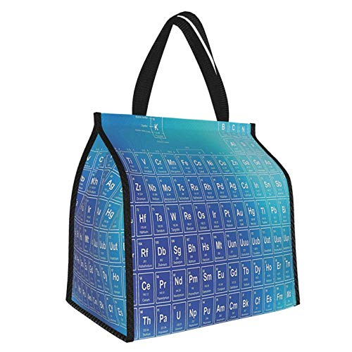 Y-shop Science Chemistry Element Table Modern Image with Blue Attentive Backdrop Art Aqua Sky and Baby Blue Picnic Freezer Bag,Bag Picnic Camping Beach Tour BBQ 30l
