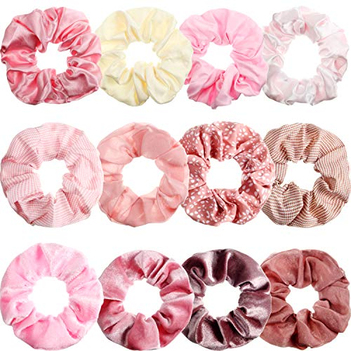 12 Pieces Pink Hair Scrunchies Hair Ties Velvet Satin Chiffon Elastic Hair Bands Ropes Ponytail Holders for Girls Women Hair Accessories, 12 Styles