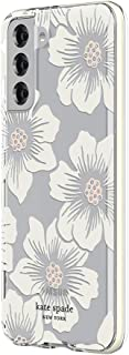 kate spade new york Defensive Hardshell Case Compatible with Samsung Galaxy S21+ 5G - Hollyhock Floral Clear/Cream with Stones/Cream Bumper
