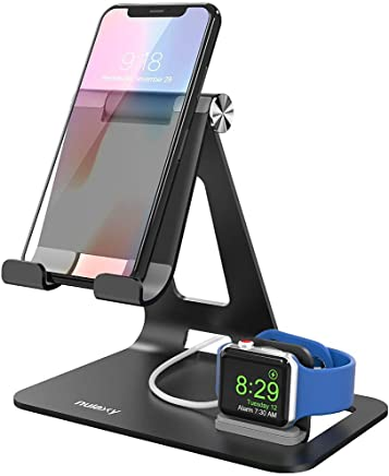 Nulaxy Apple Watch Stand-Night Stand Mode Compatible-Aluminum Adjustable Cell Phone Tablet Stand Dock Charger Holder Compatible with iPhone XR XS MAX 6S 7 8 Plus, Samsung, New iPad Pro Air Mini 2 3 4, Kindle, E-Reader (4-13 inch) - Black