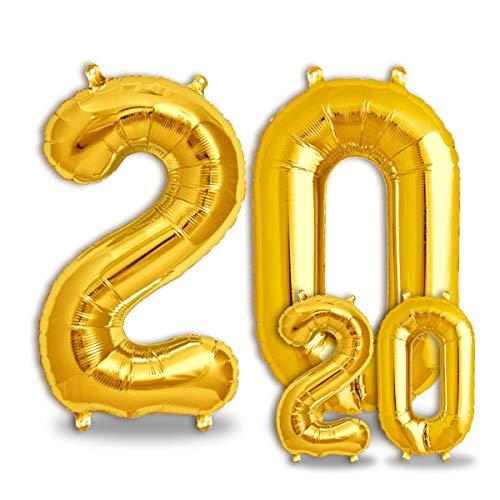 FUNXGO® Ballons Anniversaire 20 an Or - 100cm & 36cm - Ballon Chiffre 20 Numéro 20 - Happy Birthday Decoration Ballons Fête d'anniversaire Ans Vole Grâce à l'Hèlium 20 Ballons 20