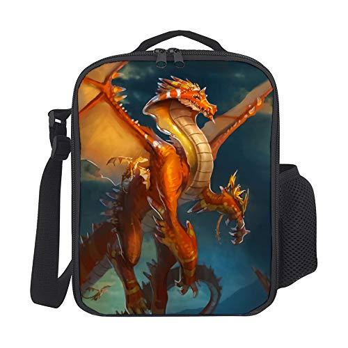 Sara Nell - Fiambrera para niños con aislante y diseño de dragón volador, lonchera grande para almuerzo, bolsa de almuerzo con correa para el hombro para niños, niñas, adolescentes, mujeres, adultos