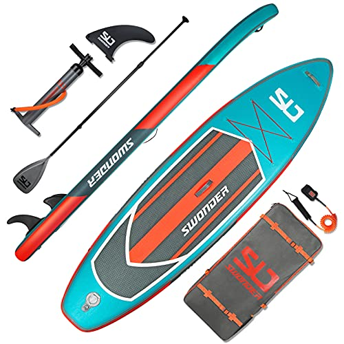 Swonder 11 6 x 32  x 6  Inflatable Stand Up Paddleboard - Ultra-Steady Paddle Board w Non-Slip Deck, 300lb Max Load; Upgraded SUP Accessories- Backpack, Aluminum Paddle, Pump, and Ankle Leash