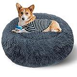 ETACCU Cama Redonda de Felpa para Gatos, casa para Perros, Cama para Mascotas, Cama para Mascotas pequeña con Forma de rosquilla Suave y cómoda 50 /60 / 70CM (60cm, Gris Oscuro)