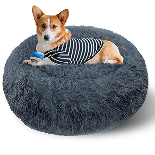 ETACCU Plush Dog Bed, Pet Bed for Cats, Washable Round Cushion Puppy Sofa, Soft Donut Cuddler Dog Calming Bed with Non-Slip Bottom, Cat Nest Bed (Dark Grey 60CM)