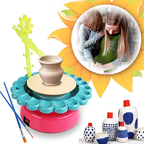 Sunflower Pottery Wheel - DIY Air Dry Sculpting Clay and Craft Paint kit for Kids Aged 8 and Up - Electric Ceramic Wheel Machine with 2 Clay, Educational Toys Kids Crafts (Pink&Green)